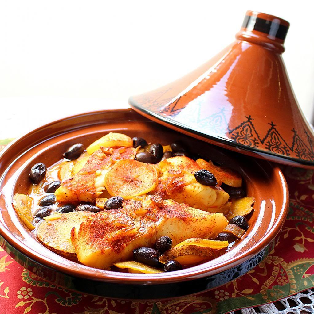 Fish and potato tagine with preserved lemon for Moroccan fish recipe