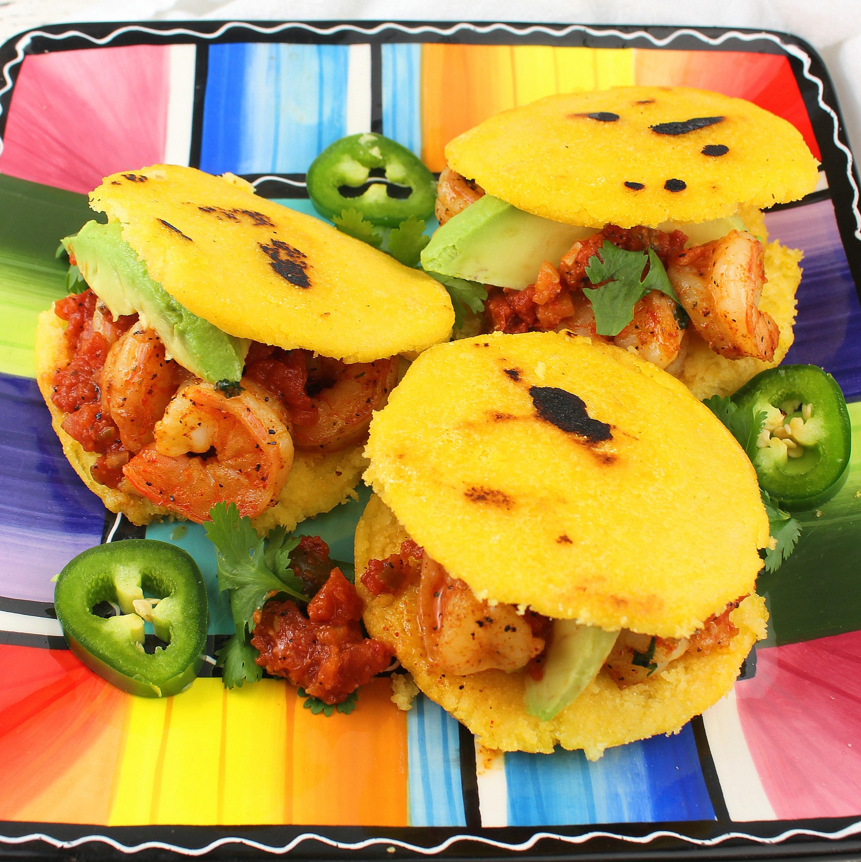 Shrimp Arepas (Arepas Con Camarones Y Hogao